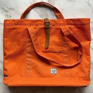 Large Herschel Orange Polkadot Tote Bag